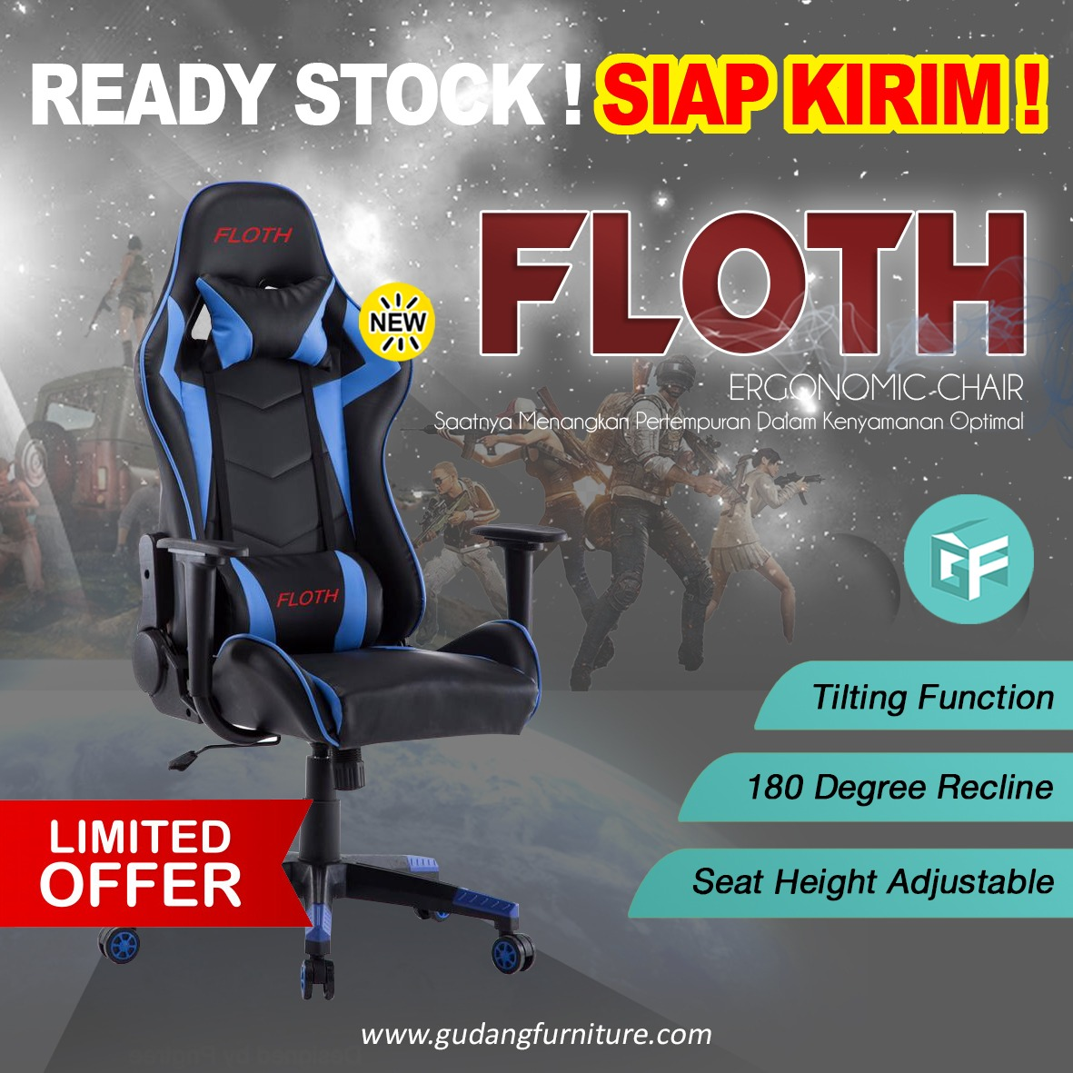 Kursi Gaming / Gaming Chair FLOTH FLH-098