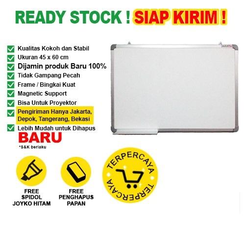 Whiteboard / Papan Tulis Magnetic SAKANA 45x60 cm ( Single Face )