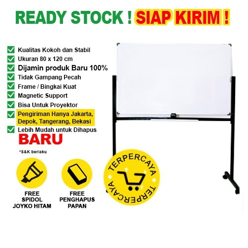 Whiteboard / Papan Tulis Magnetic SAKANA 80x120 cm (Double Face Kaki)