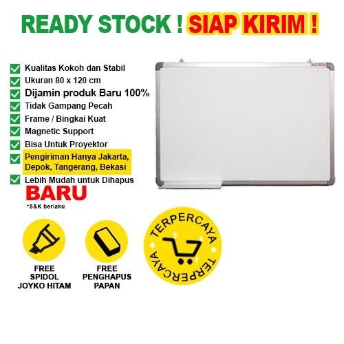 Whiteboard / Papan Tulis Magnetic SAKANA 80x120 cm (Single Face)