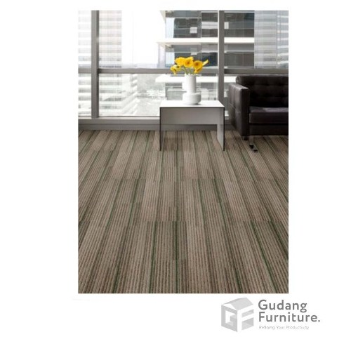 Karpet Kantor Cool Planks - Caramel Green Line