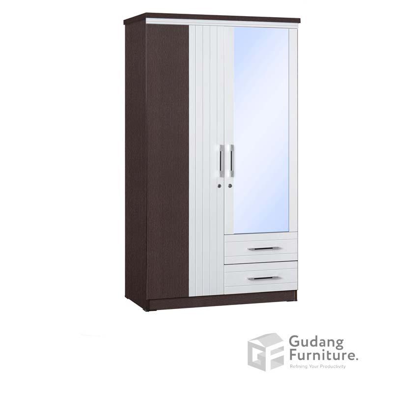 Lemari Pakaian 2 Pintu Cermin Laci Anata Series LP 2696