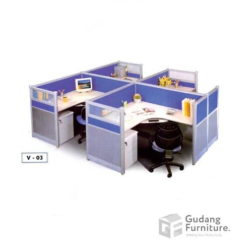 Meja Partisi / Workstation Kantor / Meja Kerja Kantor Safeguard V 03